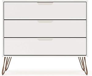"""Manhattan Comfort Rockefeller Mid-Century Modern 3 Drawer Bedroom Dresser, 35.24"""", White"""