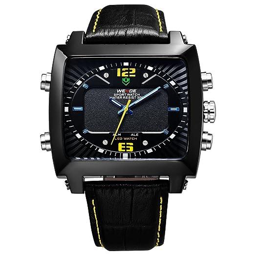 Para hombre Negro Reloj de Pulsera hora Dual LED reloj Digital del diseño de los deportes de cuero de la venda de la fecha cuadrado WH-150: Amazon.es: ...