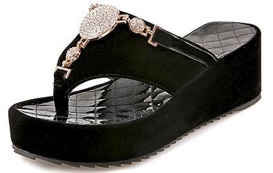 b168a8472 Femme Sandale Compensé à Talon Chaussure Tongs, Basket Montantnte ...