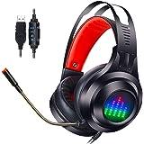 PS4ゲーミングヘッドセット ps4 ヘッドセット ゲーミングヘッドセット 7.1ch 重低音 360度調節可能マイク USBオーディオコントロールボックス付属 PCゲーム用ヘッドホン 軽量 伸縮可能 高音質 FPSゲームに最適 USB接続 呼吸LED付き Powerblue