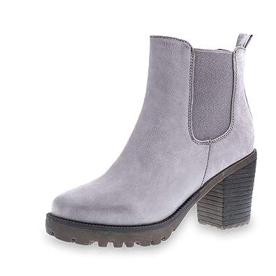 d4621999445869 Marimo Stylische Damen Ankle Chelsea Boots Stiefeletten mit Blockabsatz in  Hochwertiger Lederoptik  Amazon.de  Schuhe   Handtaschen