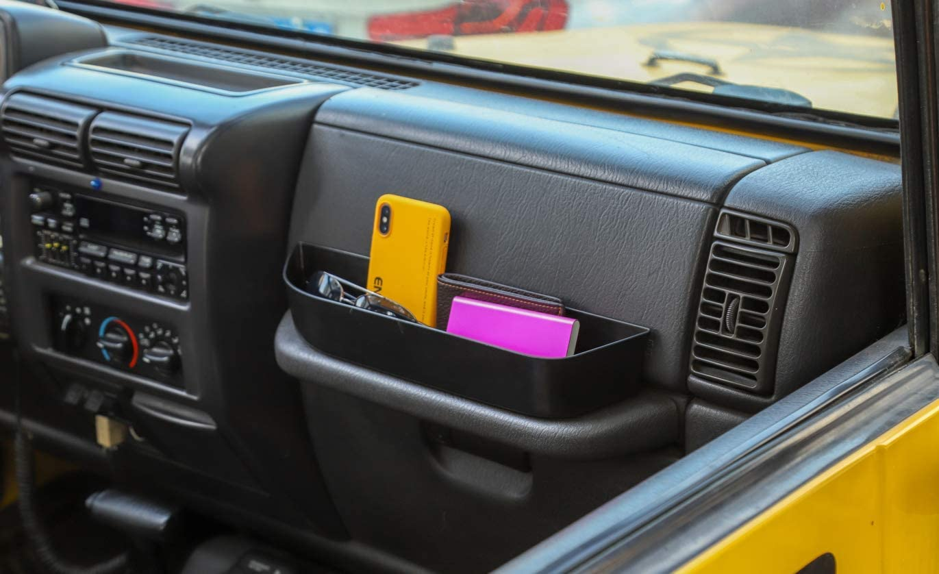 Highitem Auto Passenger Side Storage Box Container Organizer ABS Black Handy Pocket Interior Accessory Fit for Jeep Wrangler TJ 1997-2006