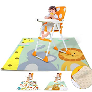 No Mess Floor Mat Protector Baby Feeding Cover Under High Chair