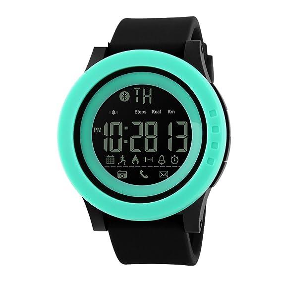 Skmei Casual reloj inteligente hombres reloj Digital impermeable de los deportes bluetooth podómetro contador de calorías, color morado: Amazon.es: Relojes