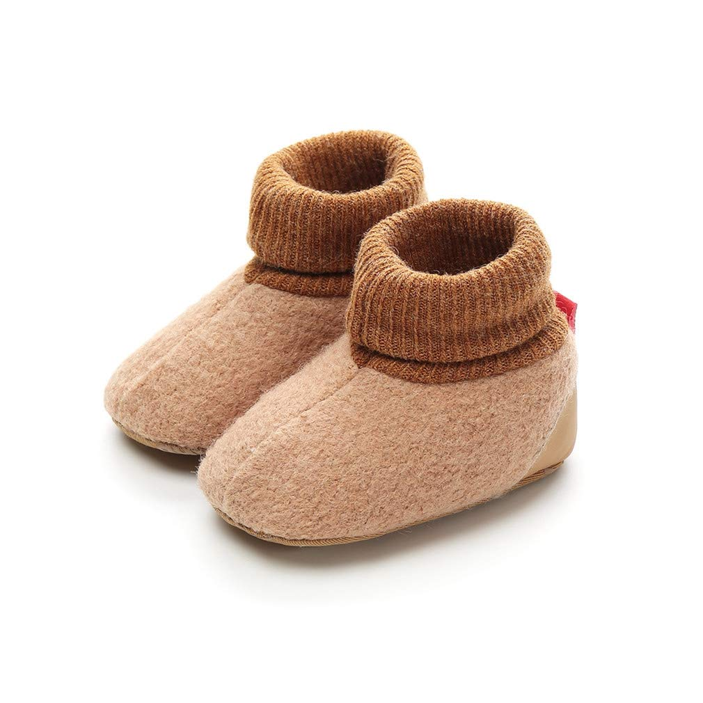 Vanbuy Baby Fleece Lined Boots Sweater Warm Winter Shoes Infant Crib Shoes Furry Slippers