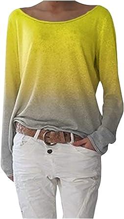 Landove Camiseta Degradada Mujer Blusa Cuello Barco Manga Larga