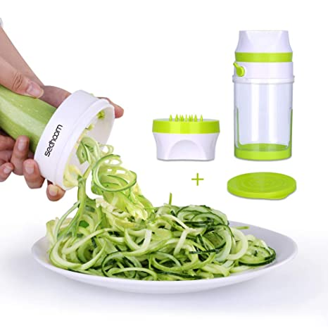 Cortador Espiral Verduras Sedhoom Cortador de Verduras de Gran Capacidad Spiralizer Manual Slicer 2 cuchillas Espiralizador