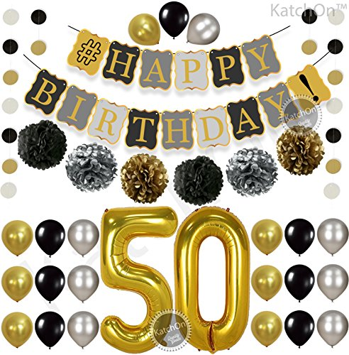 KatchOn 50th Birthday Decorations Kit -  Gold Black and Silver Paper PomPoms, Tassel, Balloons, Circle Garland, Happy Birthday Banner Gold and Black, Number 50 for 50th Birthday Party Supplies, Large - Vintage Photo Borders
