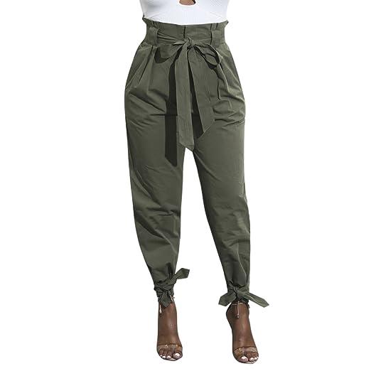 977377ed430e LAEMILIA Pantalon Décontracté Femme Ceinture Bowknot Casual Slim Crayon  Taille Haute avec Cordon  Amazon.fr  Vêtements et accessoires