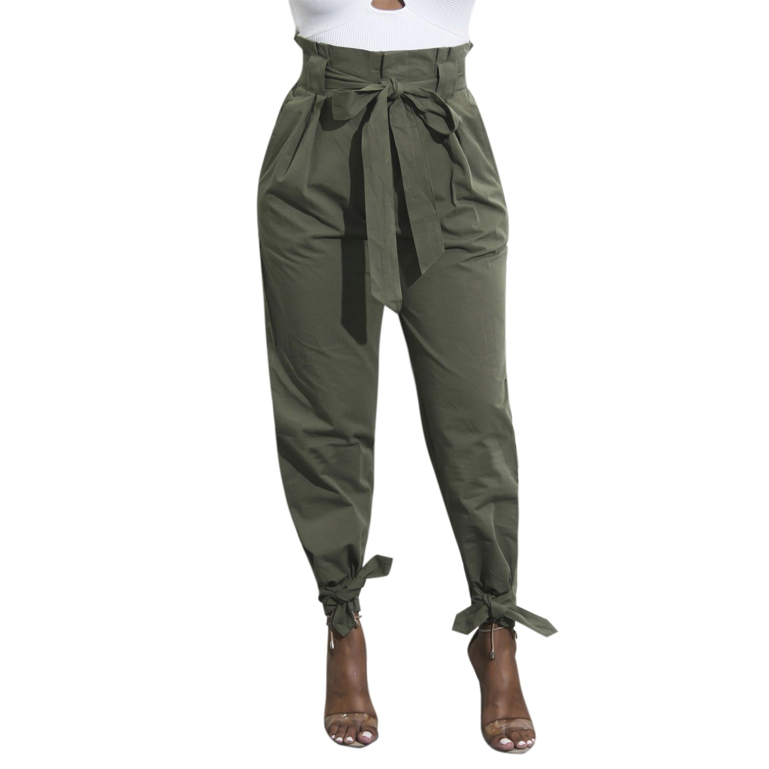 Lisli Women Casual Pants Long Style Bow Tie Waist Belt Angle Strecthy Wild Trouser