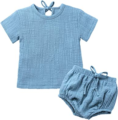 US Newborn Baby Girl Cotton Linen Outfit Shirt Tops+PP Floral Shorts Sunsuit