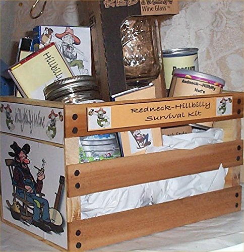 - Gift Basket Hillybilly Wood Crate Gift Red-Neck Mug Jerky Nuts More
