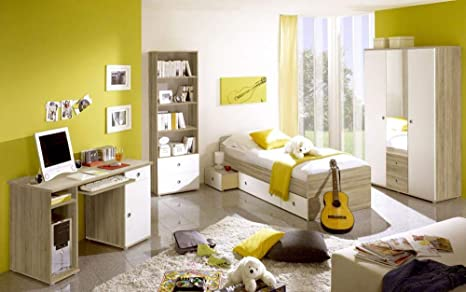 Children S Room Wiki Sonoma Oak White 4 Piece Complete Set Children S Room Furniture Including Guitar And Desktop Amazon De Kuche Haushalt