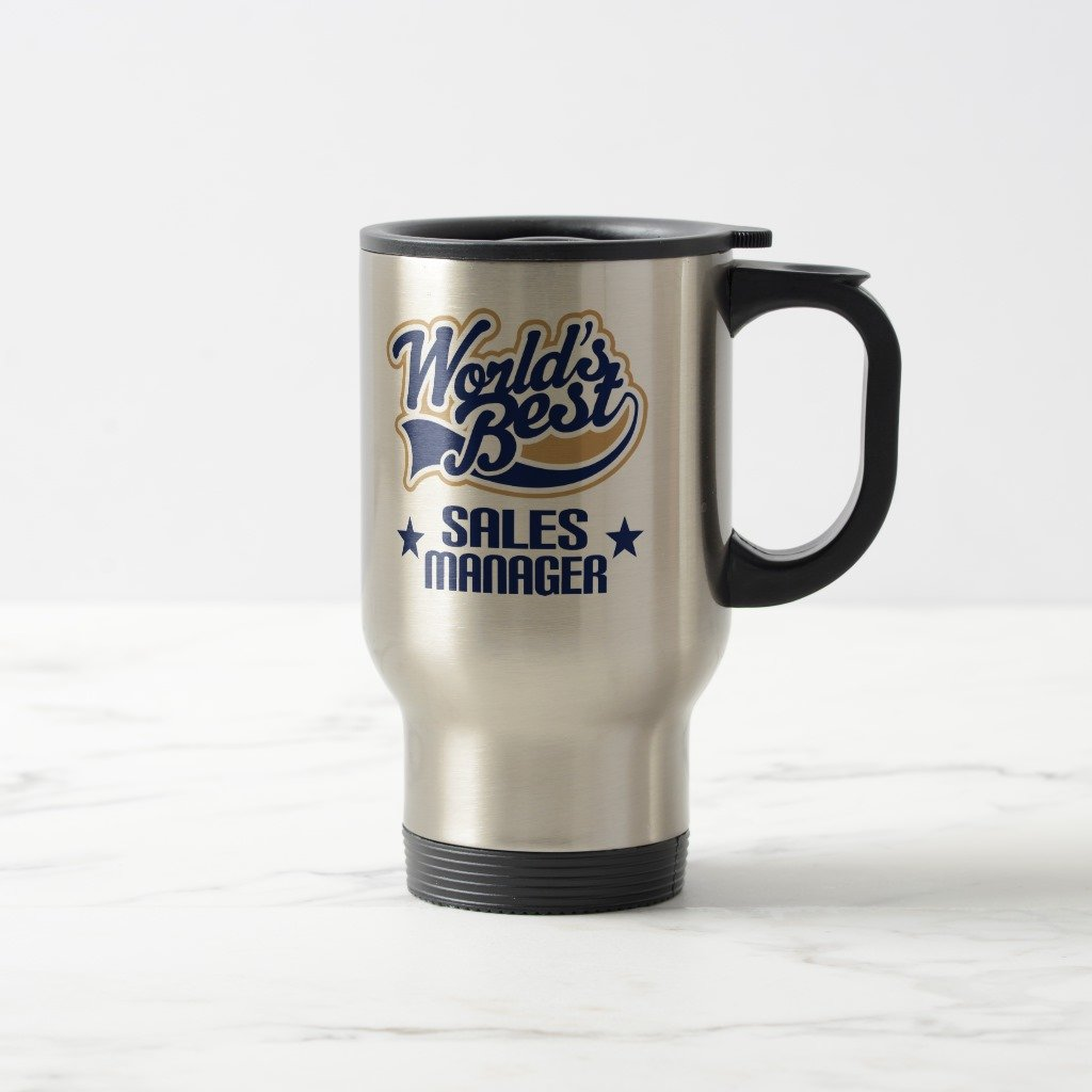 Zazzle Sales Manager Gift (worlds Best) Two-tone Coffee Mug, Stainless Steel Travel/Commuter Mug 15 oz