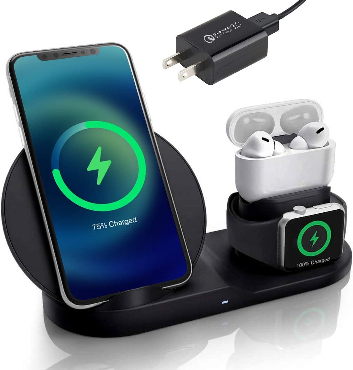 3 in 1 Wireless Charging Station for Phone, Watch & Headphones – Wireless Charger Compatible with Apple Products – Fast Wireless Charging