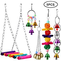 Bird Swing Toy Set, Auoker 5 Pack Wooden Bird Chew Toy with Ladder, Bell and Ball - No Fade and Durable Cage Toy for Parakeets Parrots Conures Cockatiels Macow Phoenix Caridinal Mynah