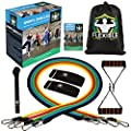 Resistance Bands Set by Flexible Sport - Premium Exercise Bands For Men & Women - 100% Natural Latex Band - Home or Gym Workout - With Door Anchor, Handles, Ankle Straps - Bonus Guide Book & Carry Bag