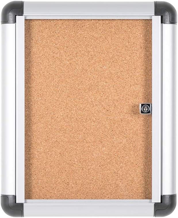 Bi-Office Enclore Extra - Vitrina de Interior de Corcho con Puerta de Acrílico y Cerradura, 306 x 376 mm - 1x A4