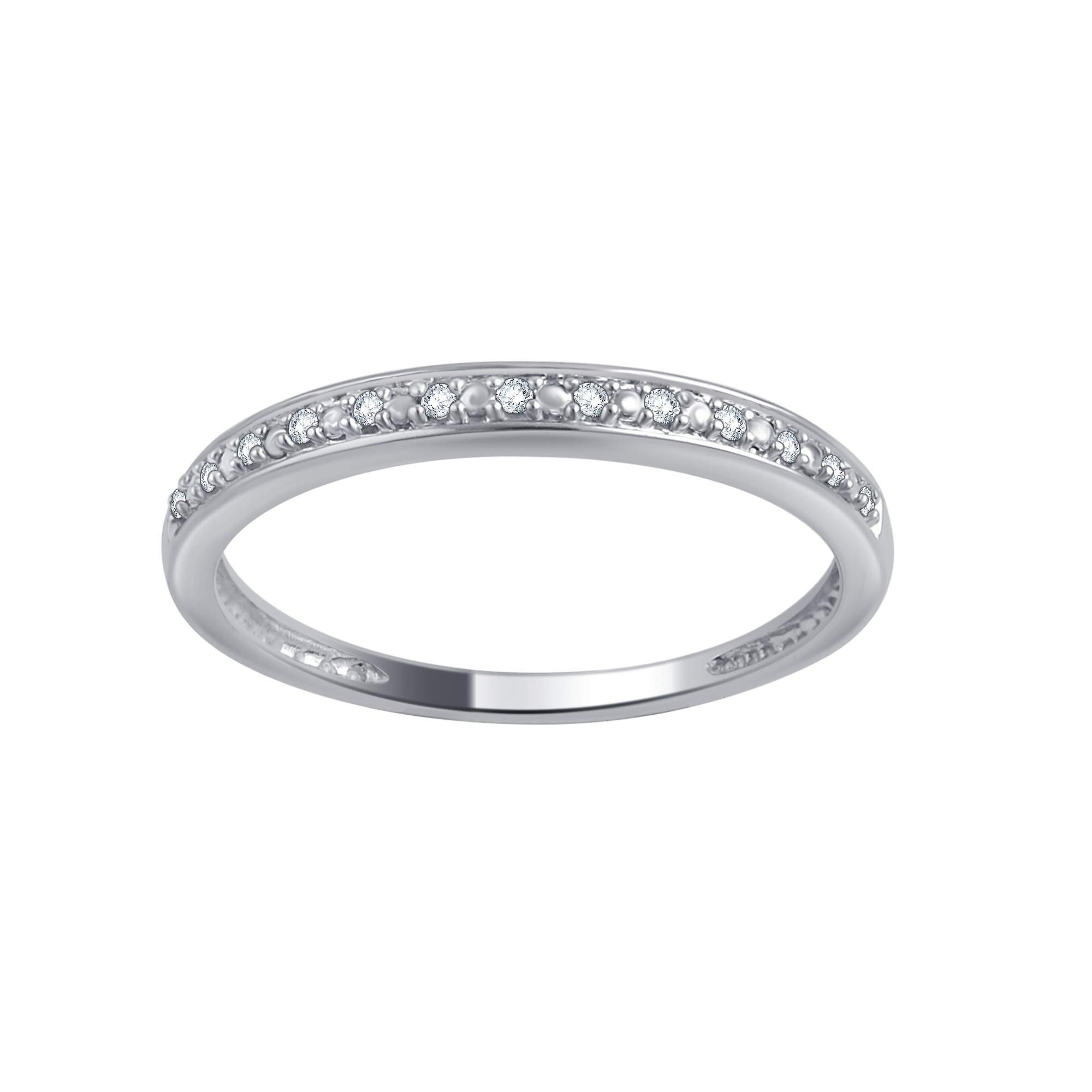 0.05 Carat Round Diamond Wedding Band & Stackable Set in 10K Gold by Brilliant Diamond