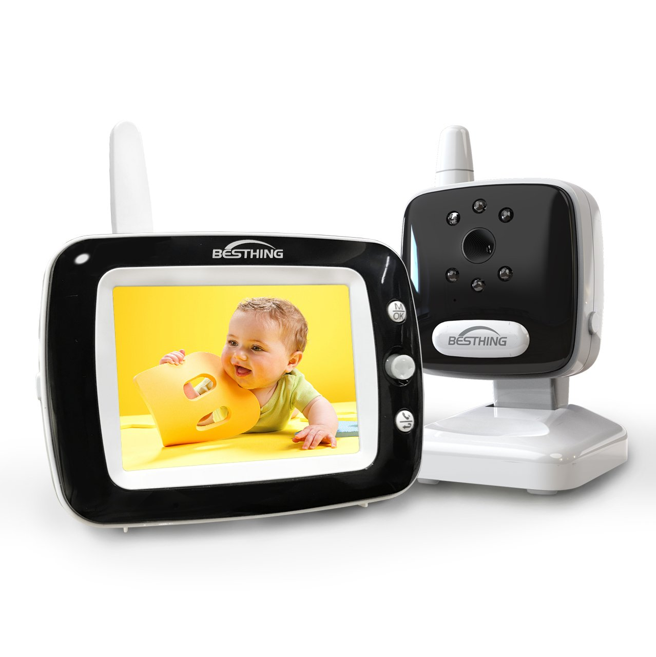 Aurola Baby Monitor with 3.5'' LCD Screen, Digital Camera, Infrared Night Vision, Two-Way Talk Back, Lullabies, Long Range, Temperature Monitoring, and High Capacity Battery, Black