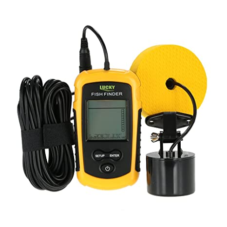 Lixada Fishing Finder Portable Fish Detection Fish Depth Locator with LCD  Dispaly and Wired Sonar Sensor Transducer
