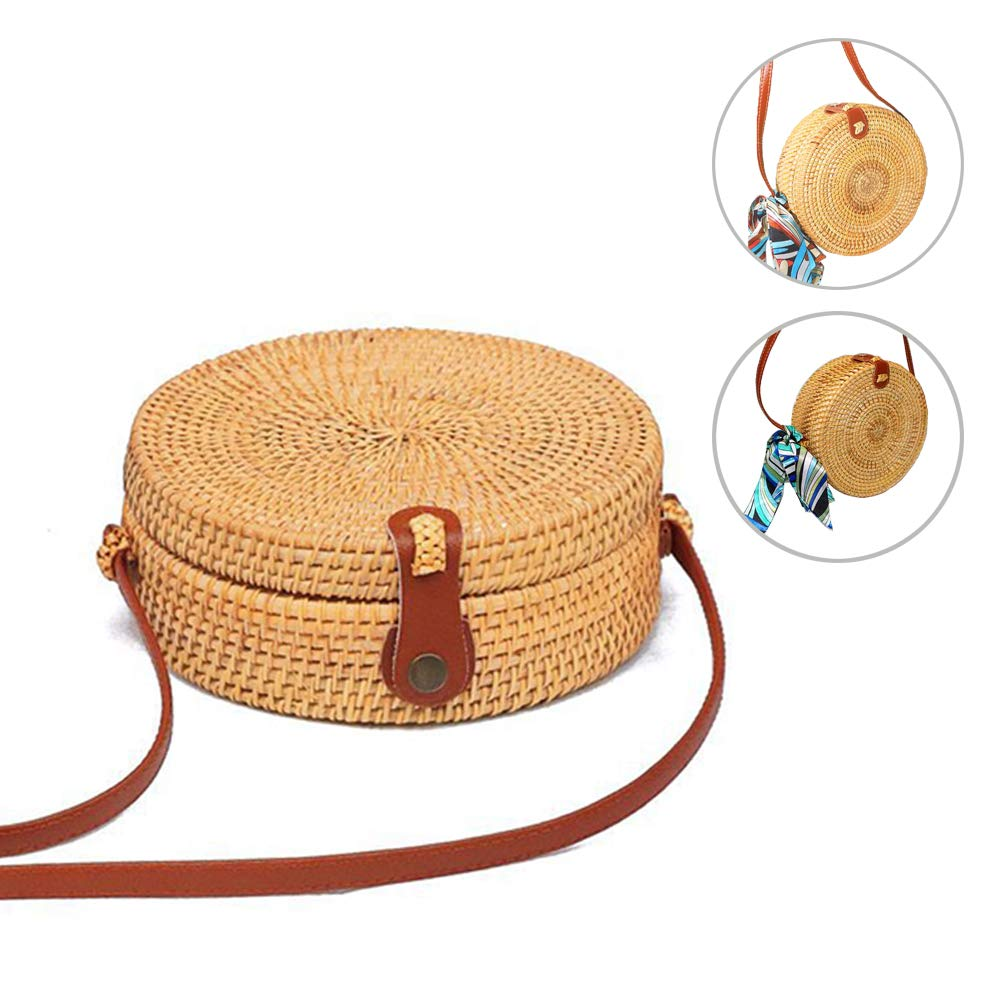 Handwoven Round Rattan Bag Shoulder Leather Straps Natura Summer Beach Bag