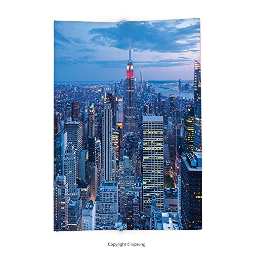 Custom printed Throw Blanket with New York Decor Aerial Night View of NYC with Dusk Sky Cloudy Sunset in City Fashion Capital Art Photo Blue Super soft and Cozy Fleece (Capitale Nyc Halloween)