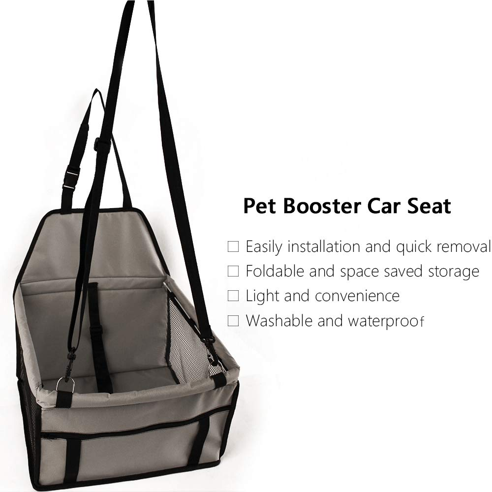 Walmeck Dog Car Seat Portable Pet Dog Booster Car Seat Breathable with Zipper Storage Pocket for Small Medium Pet