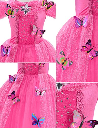Princess Cinderella Dress Up Party Costumes with Deluxe Accessories Set 4-5 Years(Rose Red 110cm) by Party Chili (Image #4)