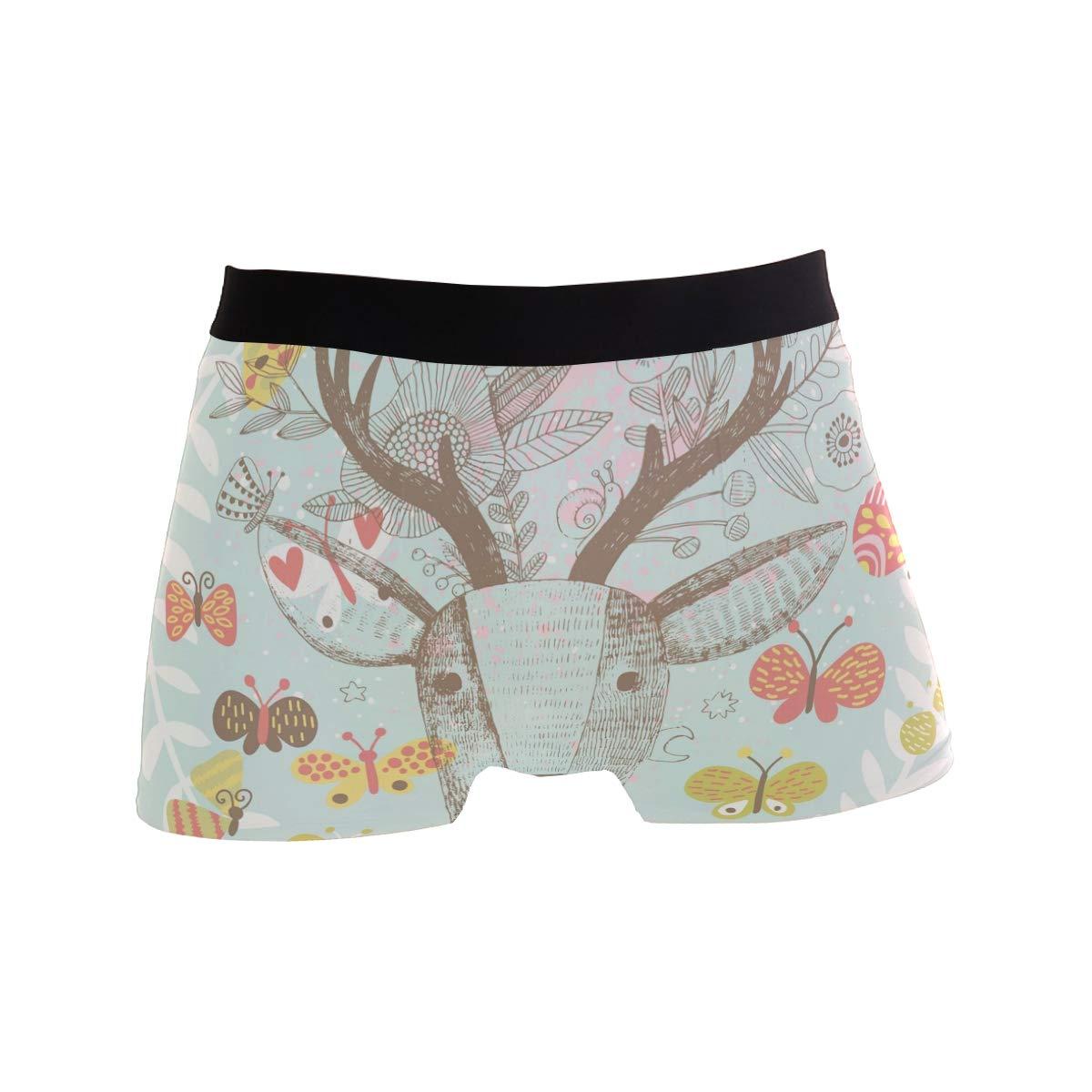 Spring Elk Deer with Flowers Butterfly Mens Underwear Soft Polyester Boxer Brief for Men Adult Teen Children Kids