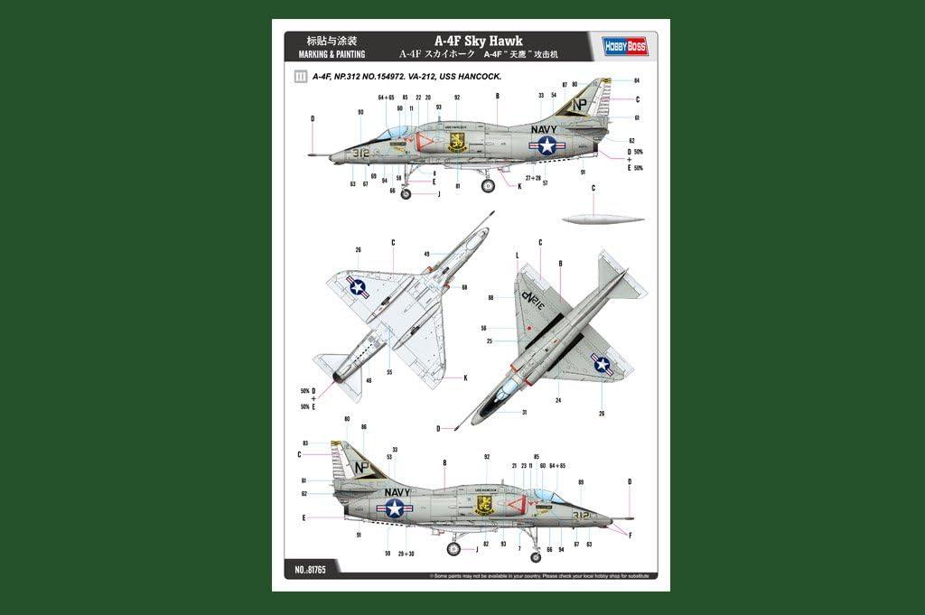 Hobby Boss 381765 1//48 A-4F Sky Hawk Modellbausatz verschieden
