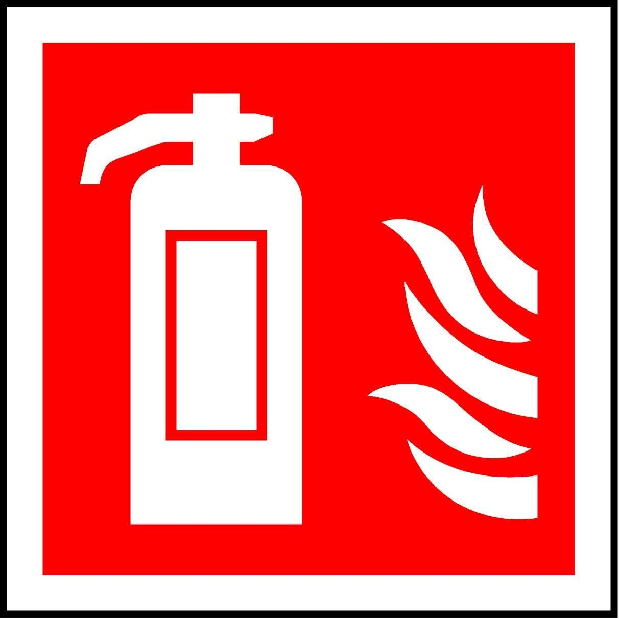 ISO Safety label Sign International Fire extinguisher Symbol Self adhesive sticker 200mm x 200mm