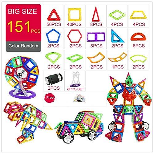 PPH3 Shine Magnetic Designer Construction & Building Toys 44-157PCS Big Size Magnetic Blocks DIY Magnets Building Blocks Toys Gifts (146Pcs)