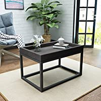 Halo Grey Finished Faux Wood Coffee Table with Black Iron Frame