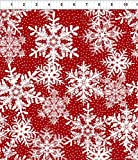 Winter Twist~Red Snowflakes~Christmas Cotton Fabric by In The Beginning