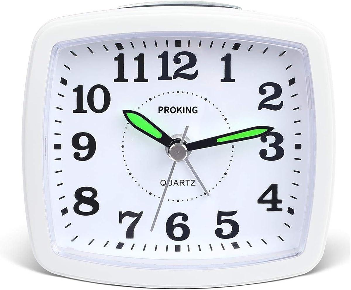 Despertador Analógico,Reloj de Alarma para Niños Pequeño Tamaño con Pilas Que no Hace Tictac Posponer Funciones de luz Reloj de Mesa de Noche Reloj Despertador