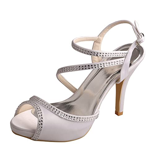 fa4f0e1d4a Wedopus Women's Open Toe High Heel Strappy Buckle Rhinestones Satin Wedding  Party Sandals