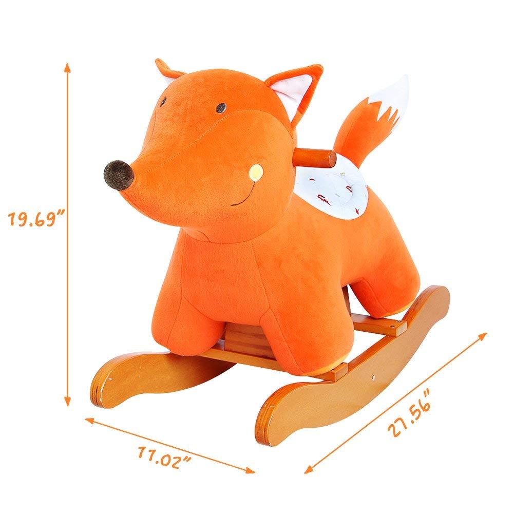 in Legno con Imbottitura in Stoffa Animale a Dondolo Giochi Infanzia Fox Arancione HONNIEKIS Cavallo a Dondolo per Bambini