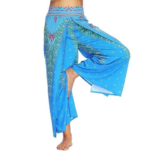 304d4f07135e Women Sexy Waist Wide Leg Floral Pants Casual Summer Gypsy Hippie Boho Yoga  Harem Pants Blue