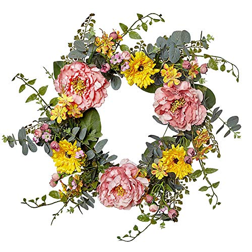 VGIA 20 Inch Artificial Peony Flower Wreath Silk Spring Wreath for The Front Door, Home Decor in Summer and Fall]()