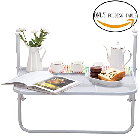 tinton life metal folding balcony deck table adjustable height hanging patio railing shelf multifunctional storage rack - Hanging End Tables