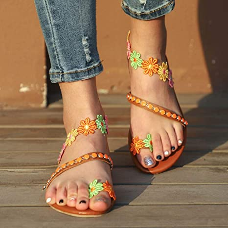 Floral Embellished Toe Ring Casual Flat
