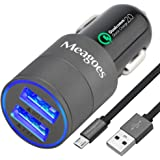 Meagoes Fast Micro USB Quick Charge 2.0 Car Charger, for Motorola Droid Turbo/Moto G Turbo Edition/Moto X Force/Pure/Style, LG G4/V10, HTC One M9/M8, Nexus 6, Samsung Galaxy S7/S6/Edge/S5, and More