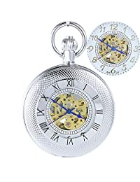 OGLE Waterproof Silver Roman White Chain Fob Self Winding Automatic Skeleton Mechanical Pocket Watch