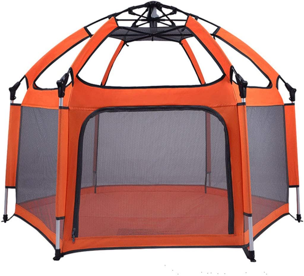 Baby Playpen/Playpen Play Yard Space Canopy Fence Kids Safety Playpen Foldable/Compact Kids Play Pen with UV Canopy Ideal for at Home, Traveling, Park/Beach