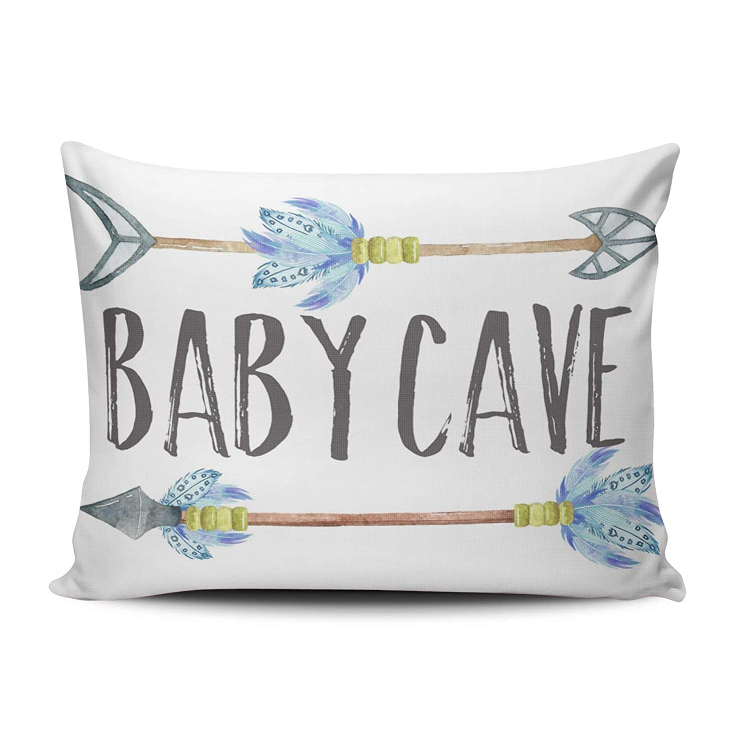 ONGING Decorative Pillowcases Blue Gray and White Baby Cave Boho Tribal Boy Nursery Customizable Cushion Rectangle Boudoir Size 12x16 Inch Throw Pillow Cover Case One Sided Design Printed