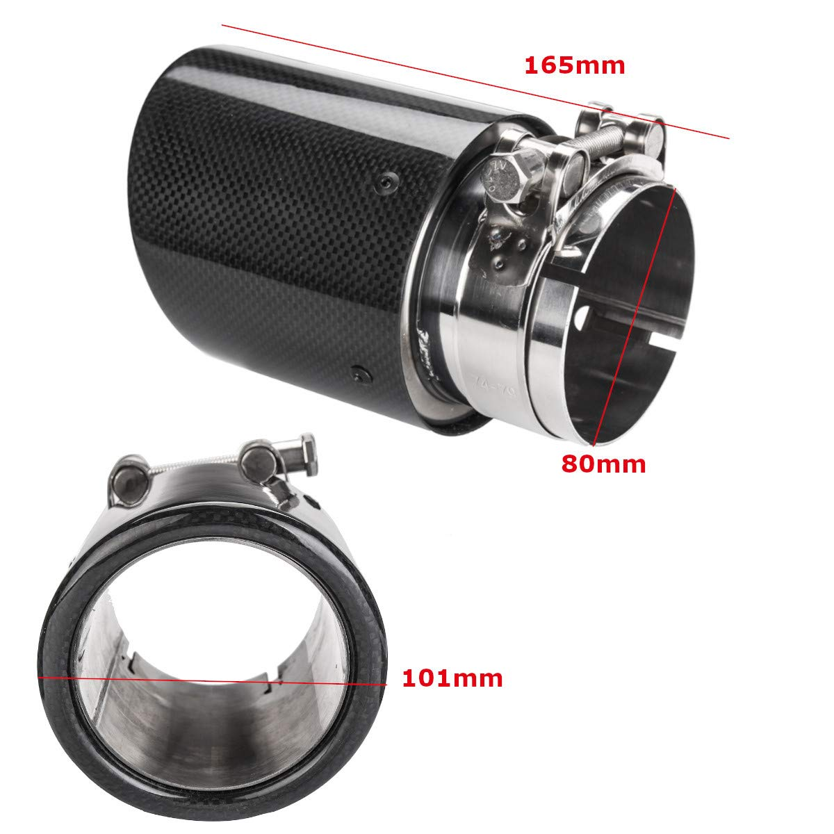 Shumo Universal 80Mm-In 101Mm-Out Glossy Black Car Carbon Fiber Exhaust Tail Rear Tip Pipe Muffler