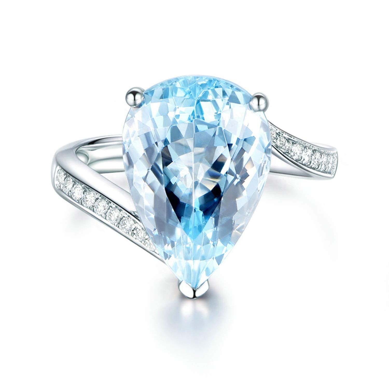 AMDXD Jewellery 925 Silver Wedding Rings Girls Blue Pear Cut Topaz Teardrop Ring