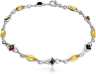 Multicolor Amber Sterling Silver Bracelet 19.5 cm
