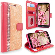 LG Stylo 3 Case, Cellularvilla [Diamond] Embossed Flower Design Premium Pu Leather Wallet Case [Card Slots] [Stand Feature] Folio Flip Cover For LG Stylo 3 Plus / LG Stylus 3 LS777 (Peach Pink Bling)